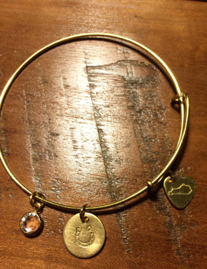Kentucky Gold Wire Charm Bracelet