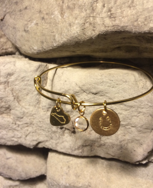 Customizable Coin Kentucky Gold Wire Charm Bracelet