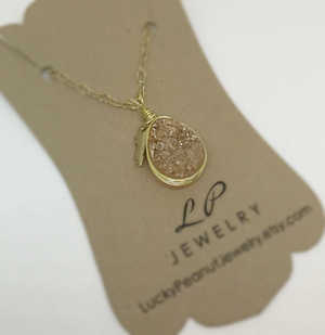 Wire Wrapped White Agate Druzy w/ Gold Kentucky Charm