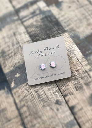 Hand Stamped Mixed Metal Bezel Set Kentucky Stud Earrings