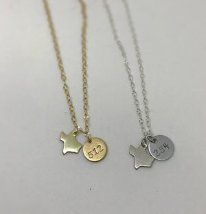 Hand Stamped Texas Area Code Necklace