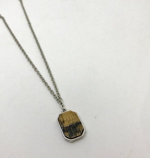 Kentucky Whiskey Bourbon Barrel Bezeled Emerald Cut Necklace
