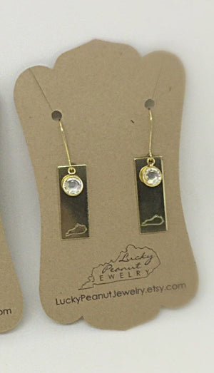 Hand Stamped Bar Kentucky Earrings with Swarovsky gem