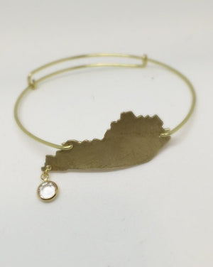 Gold Wire Kentucky Charm Bracelet - Bangle with Crystal Faceted Dangle and Kentucky Charm