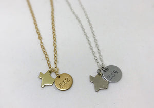 Hand Stamped Area Code Coin Necklace
