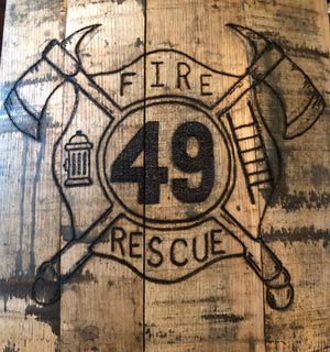Firefighter Wood Burned Bourbon Barrel Wall Decor