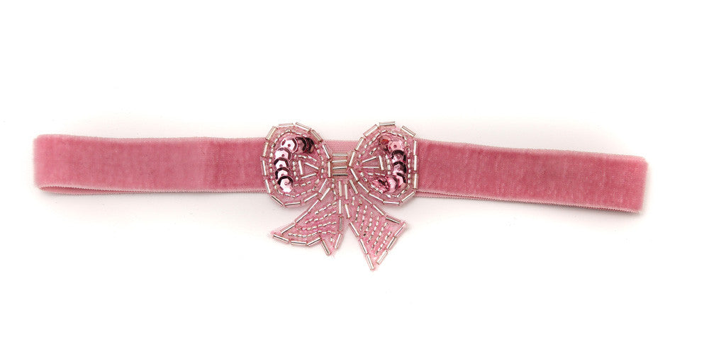 Beaded Bow Light Pink