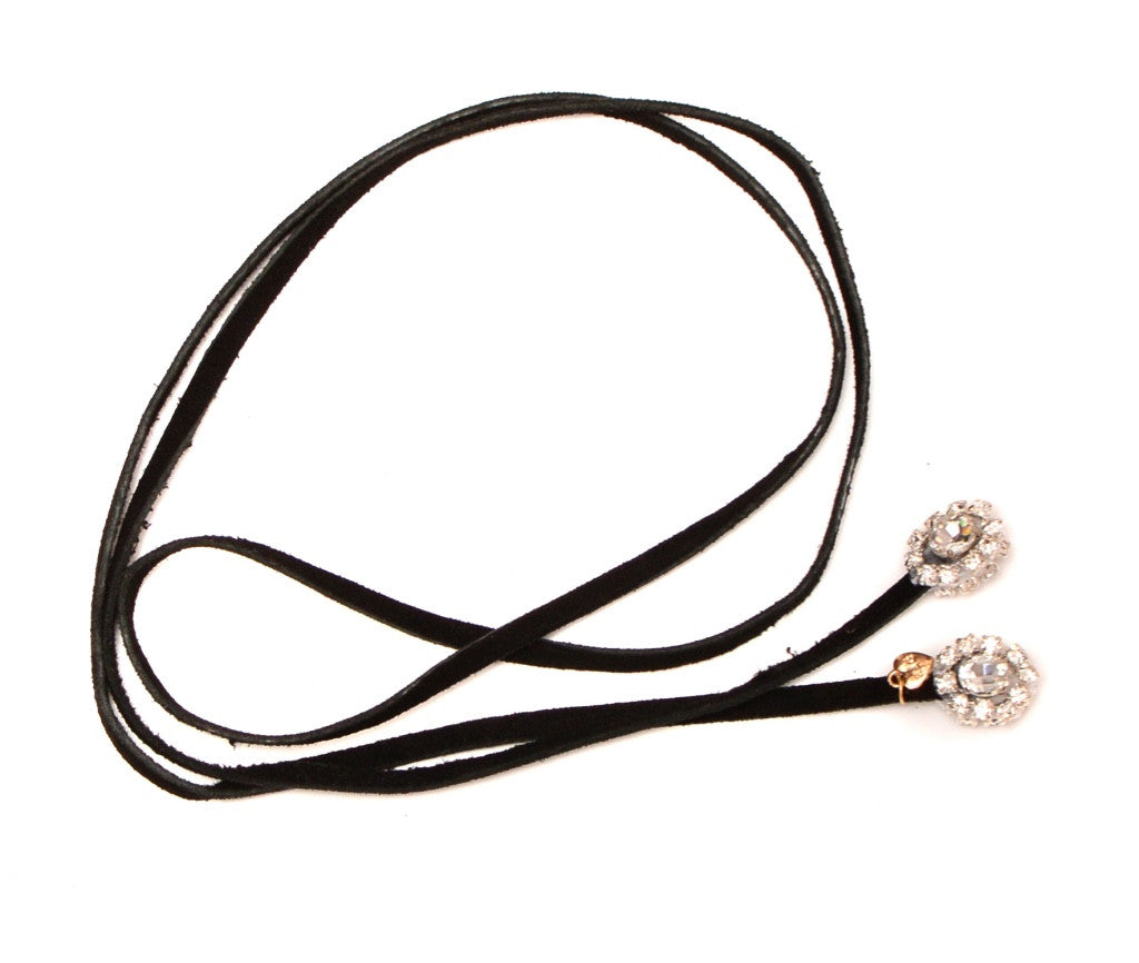 Crown Jewel Silver - Black Suede Lariat