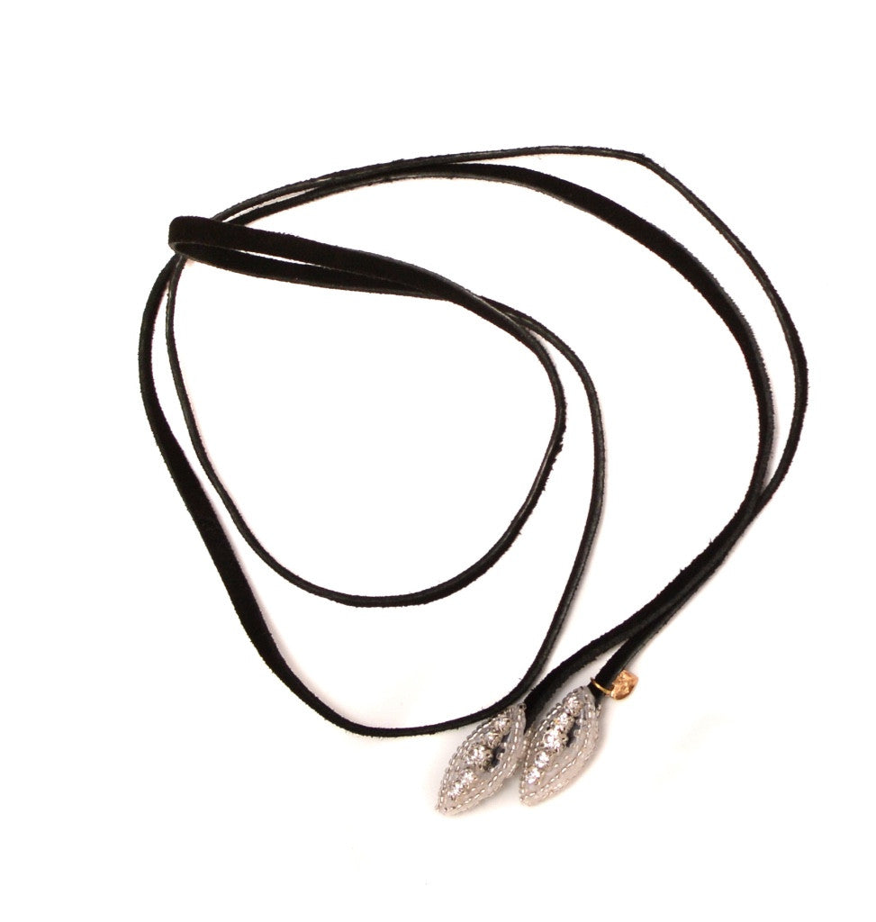 Little Eye Silver - Black Suede Lariat