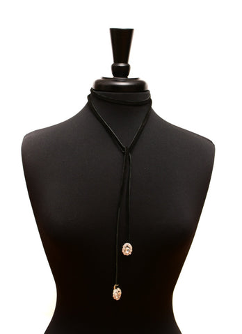Double Trouble Gold - Black Velvet Choker