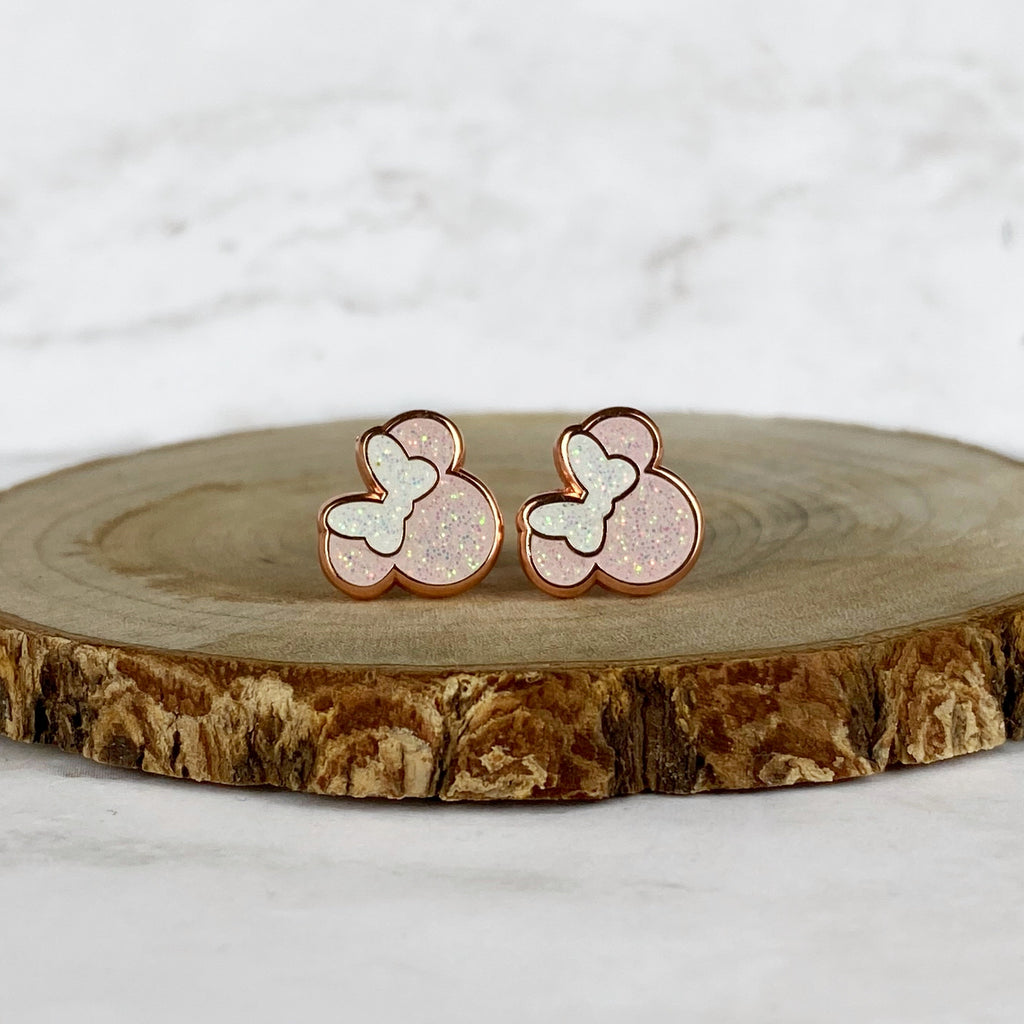 Earrings - Pink and Rose Gold Miss Mouse READY TO SHIP