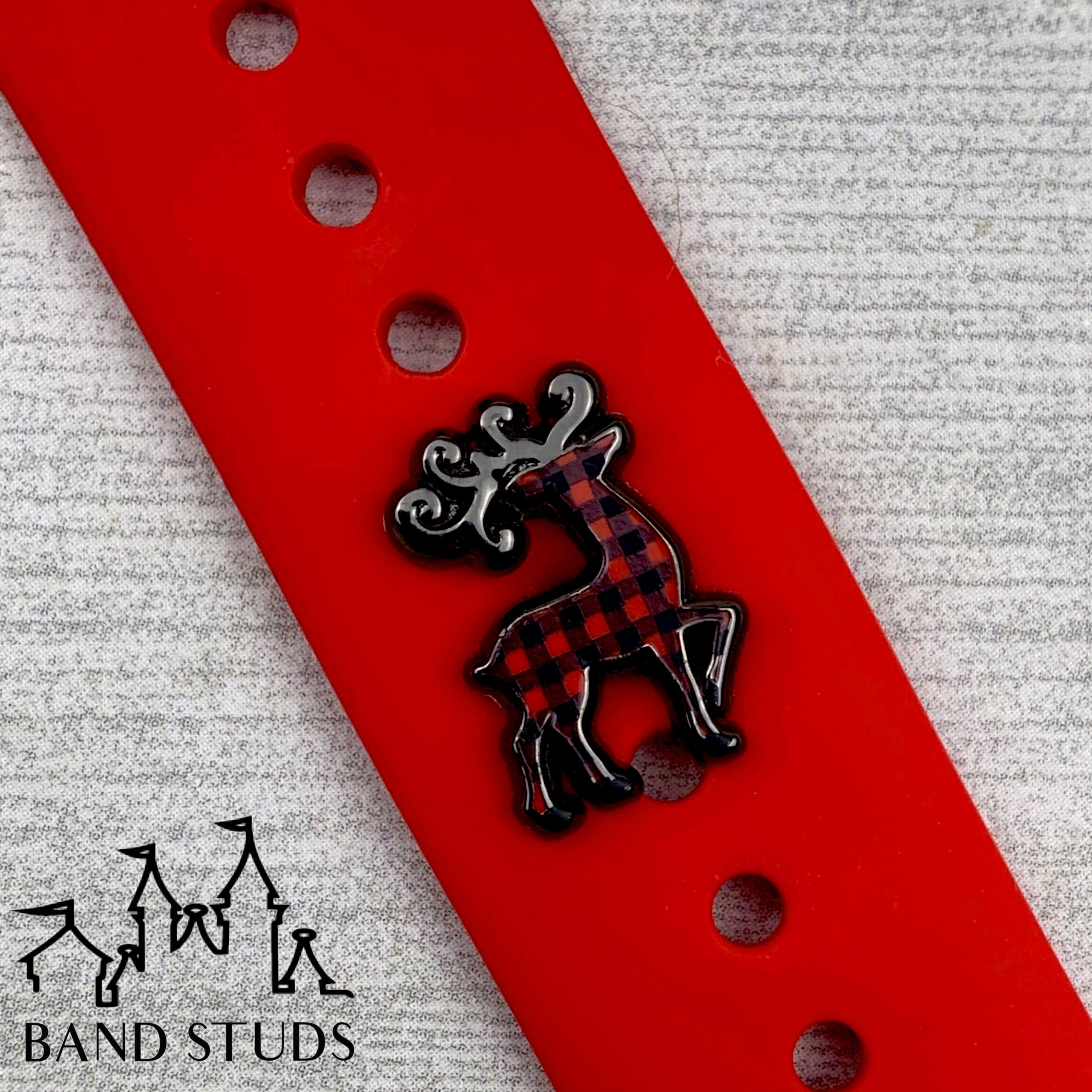 Band Stud - Christmas Collection - Majestic Reindeer Buffalo Plaid READY TO SHIP