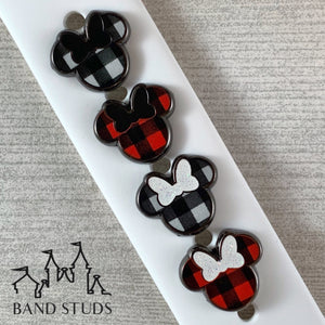 Band Stud® - Christmas Collection - Buffalo Plaid / Buffalo Check Mouse READY TO SHIP