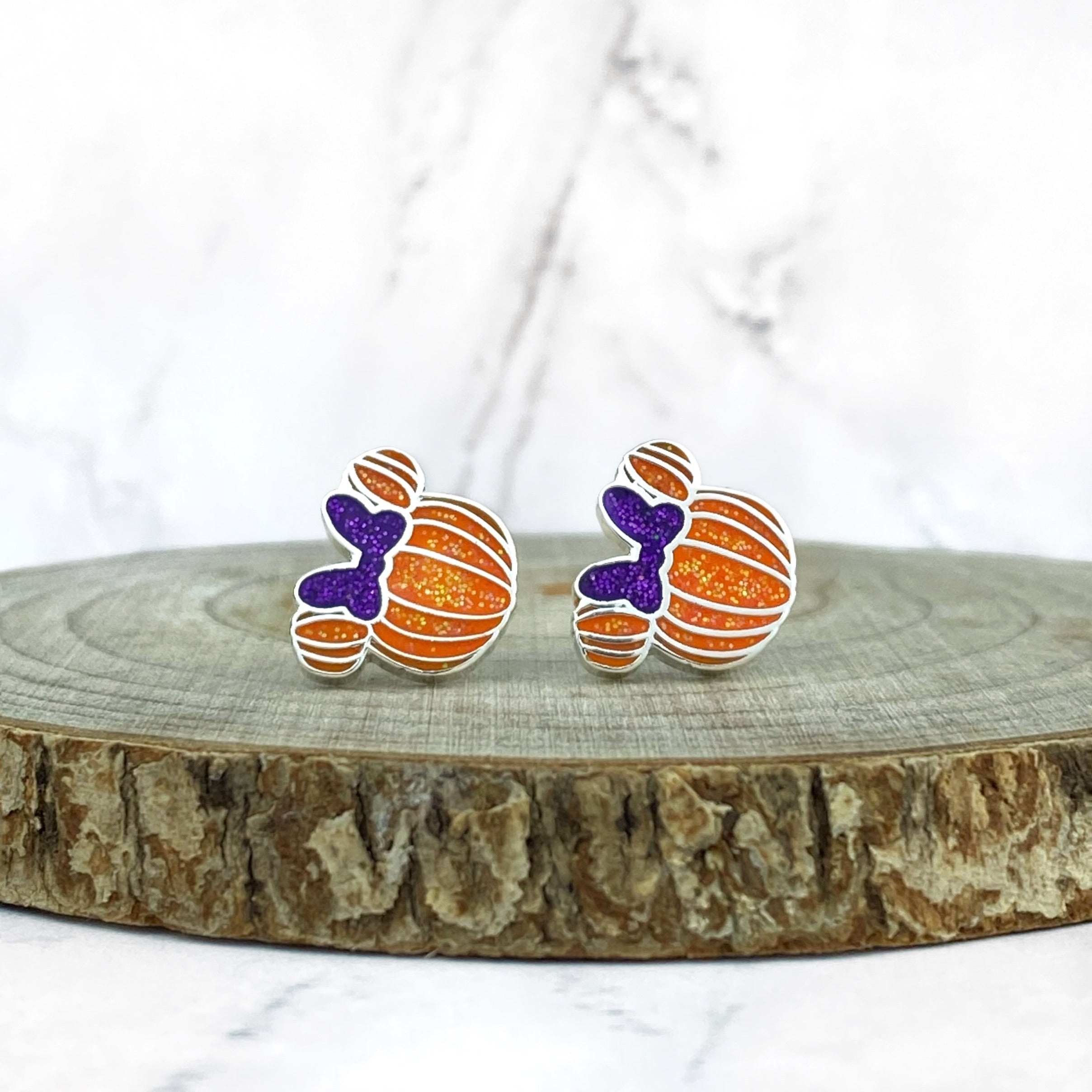 Earrings - Pumpkin Miss Mouse -  READY TO SHIP