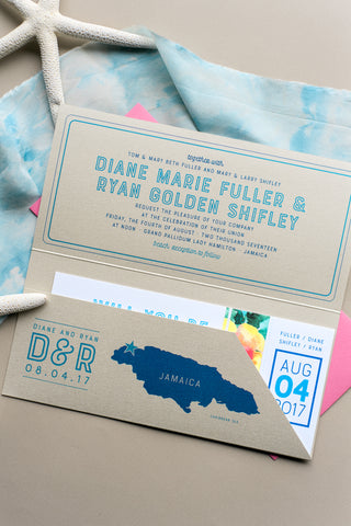 TRAVEL COLLECTION *FLORA* Portable Pocket Styled Invitation