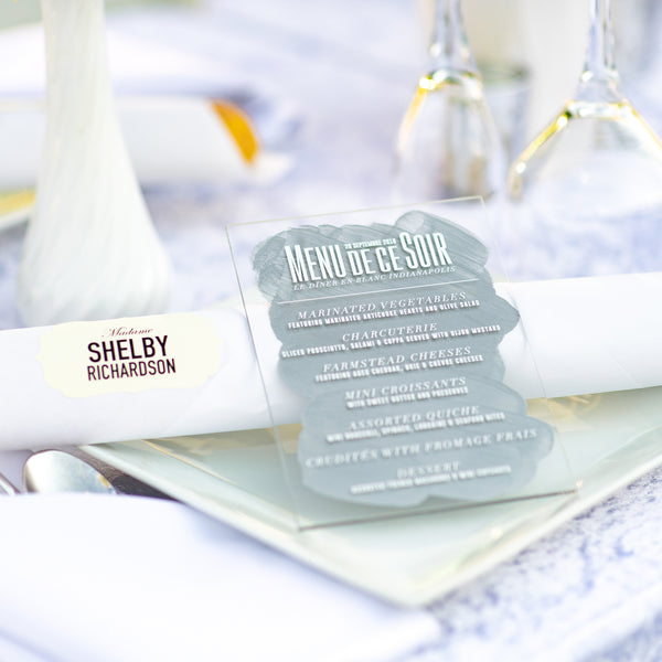 Acrylic Menus for Any Suite!