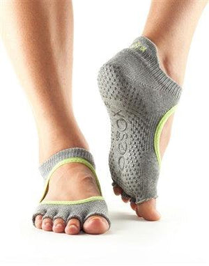 ToeSox Ballarina - Full or Half Toe - Grey with Lime Green Trim