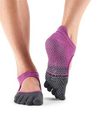 ToeSox Ballarina - Full or Half Toe - Mulberry Stripe