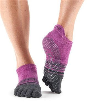 ToeSox Low Rise - Full or Half Toe - Mulberry Stripe