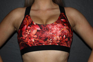 RARR Designs V Neck Sports Bra - Wunderlust Red