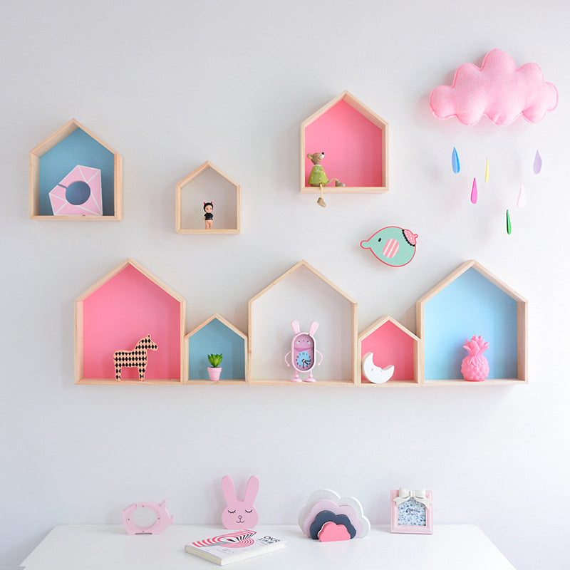 Kids Room Decoration Wooden Shelf
