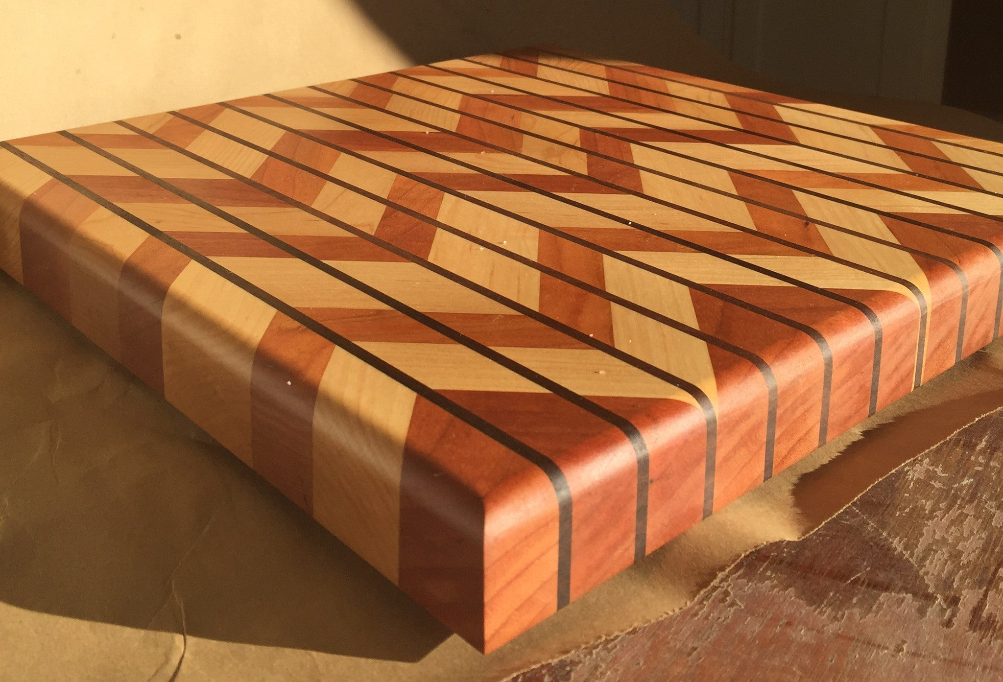 "Cherry, Maple, and Walnut - Chevron Style Cutting Board 14  3/8"" wide by 14  3/8"" by 1  3/8"" Thick (plus feet)"