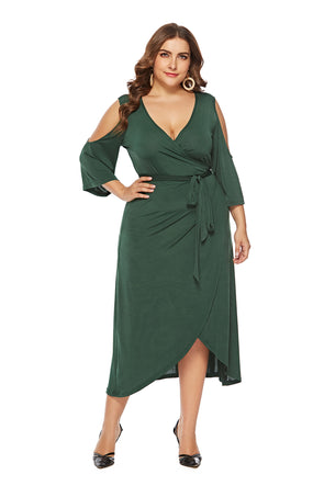 Plus Size Sheer Long Wrap Dress with Cut Out Sleeves