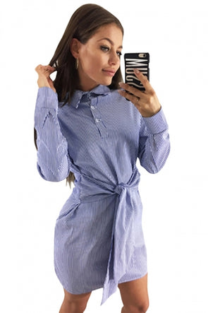 Plus Size Long Sleeve Button Waist Tie Striped Mini Shirt Dress