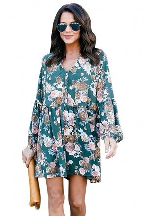 Plus Size Long Sleeve Button Down Floral Print Loose Mini Dress
