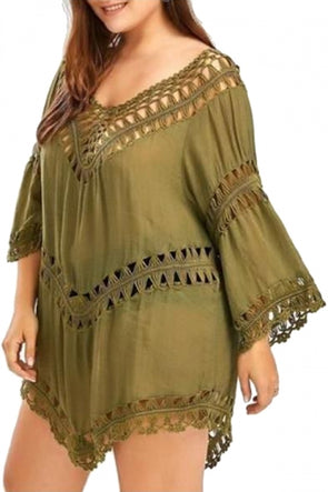 Plus Size V Neck 3/4 Sleeve Crochet Cut Out Plain Beach Dress
