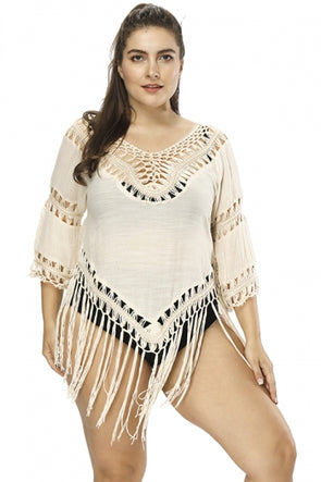 Plus Size 3/4 Sleeve Crochet Cut Out Fringe Beach Dress