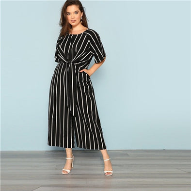 Women Black And White Striped Raglan Sleeve Plus Size Belted  Wide Leg Jumpsuits