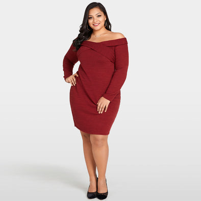 Sexy Women Plus Size Knitted Dress Off The Shoulder Cross Front Long Sleeve Slim Bodycon Mini Dress Burgundy