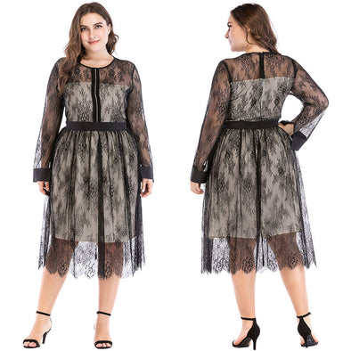 Women Plus Size Dress Sheer Mesh Floral Lace Rhinestone Long Sleeve Elegant Evening Partywear