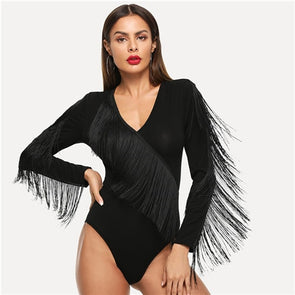 Women Black Elegant Weekend Casual Fringe Embellished Form Fitting Solid Skinny Bodysuit