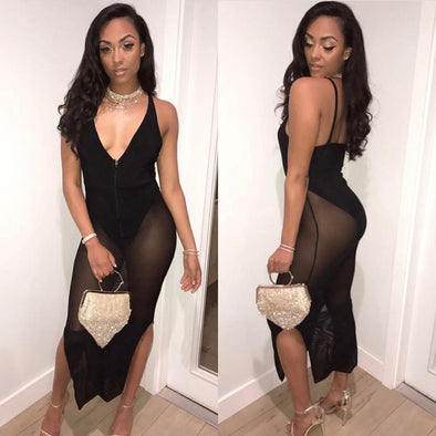 Women Dress Sheer Mesh Lace Bodysuit Deep V Sleeveless Spaghetti Strap Zipper Maxi Sexy Night Clubwear