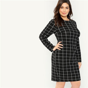 Plaid Plus Size Black Bodycon Pencil Dress Office Lady Long Sleeve Dress