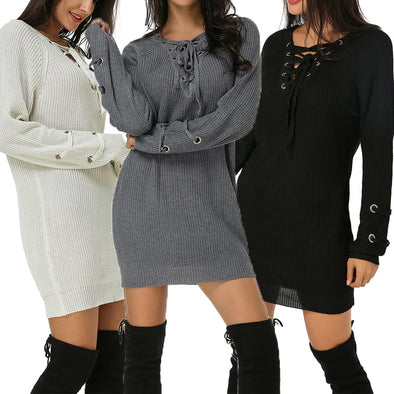 Hollow Long Sleeve Pullover Casual Mini Vestidos Long Tops Plus Size