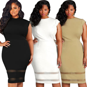 Sexy Women Plus Size Bodycon Dress Mesh Splice Solid Color O-Neck High Waist Slim Midi Dress