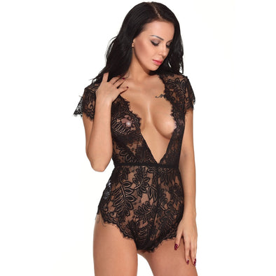 Sexy Women Bodysuit Sheer Lace Teddy Lingerie Plunge V Neck Backless Bodycon Jumpsuit Erotic Sleepwear