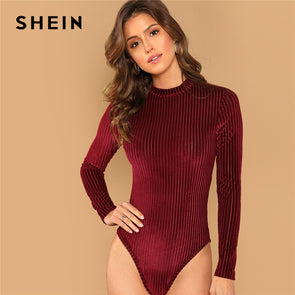 Mock-Neck Cord Stand Collar Mid Waist Long Sleeve Bodysuit