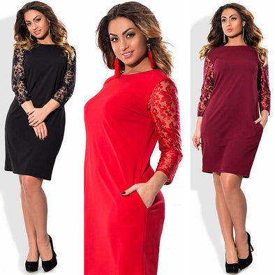 Women Plus Size Dress Floral Lace Three Quarter Sleeve Pockets Mini Big Size Elegant Office Partywear