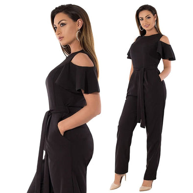Women Plus Size Jumpsuit Cold Shoulder Ruffled Sleeve Solid High Waist Long Pants Playsuit Rompers Black/Burgundy