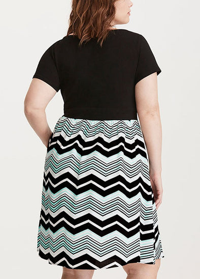 Women Plus Size Dress Stripe Print Scoop Neck Short Sleeve Casual Party Club Loose Dress Black