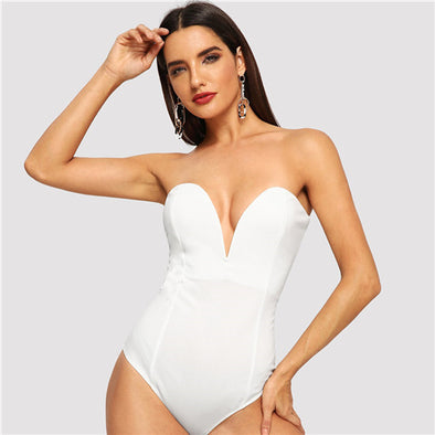 Deep V Neck Sexy Casual Strapless Bodysuit
