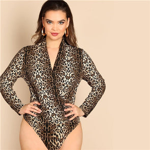 Women Plus Size V Neck Long Sleeve Leopard Print Streetwear