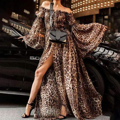 Women Leopard Print Long Maxi Dresses Sexy Off Shoulder