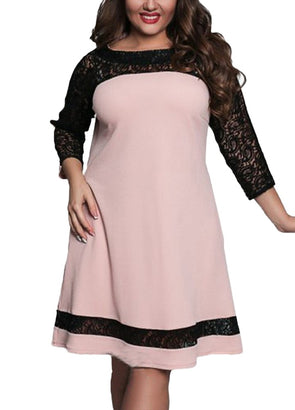 Women Plus Size Dress Semi-sheer Lace Mesh Splice Contrast Color Elegant A-Line Party Swing Dress Dark Blue/Pink/Rose