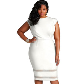 Women Bodycon Dress Plus Size 3XL 4XL 5XL Mesh Splice O-Neck High Waist Slim Knee-Length Dress