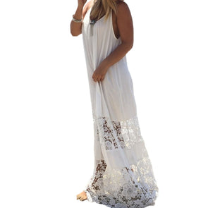 Plus Size Summer Dress Solid Lace Spaghetti Strap Loose Long Beach Dresses Floor-length Maxi Dress